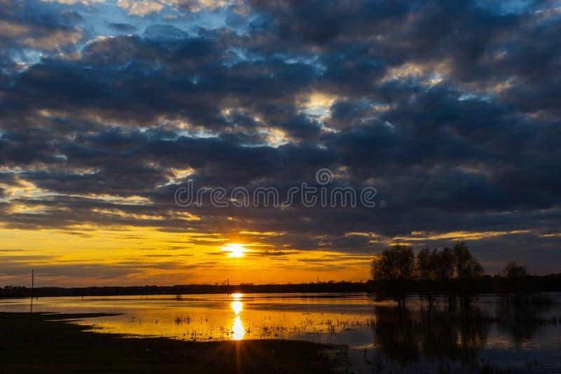 Sonnenuntergang auf dem Fluss mit drei Bäumen auf Desna-Fluss im Frühjahr, Ukraine stockfotos