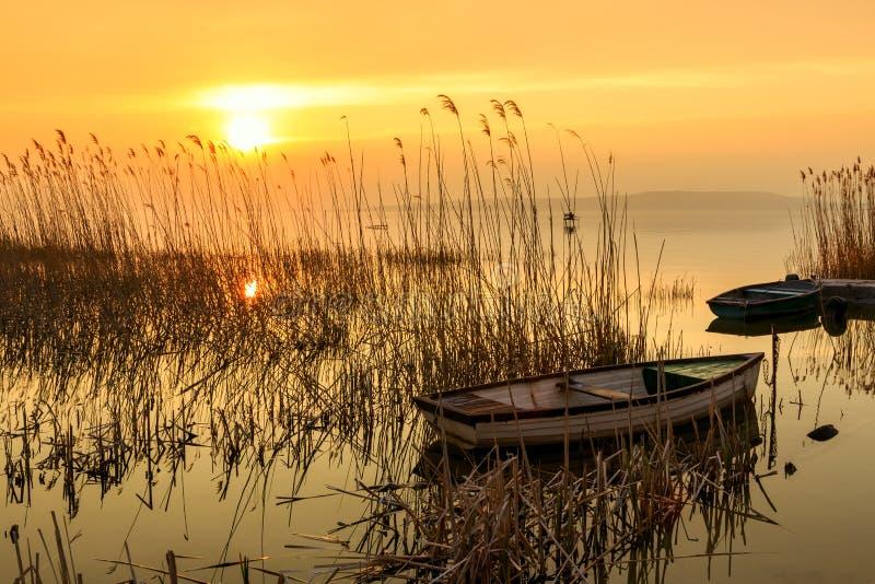 Sonnenuntergang auf dem Plattensee mit einem Boot lizenzfreie stockfotos