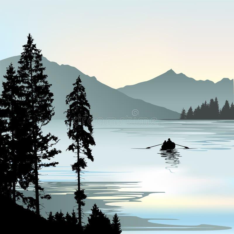 Sonnenuntergang auf dem See und zwei Anglern lizenzfreie abbildung