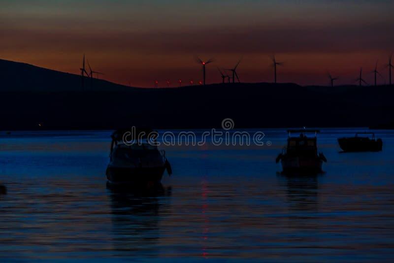 Sonnenuntergang auf dem türkischen Ägäischen Meer lizenzfreies stockbild