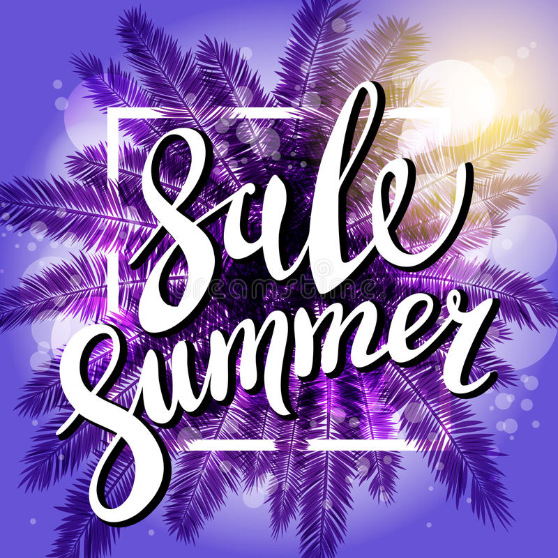 Sonnenuntergang auf dem violetten Hintergrund Strand Sommerschlussverkaufs mit Palme Datei überlagert vektor abbildung