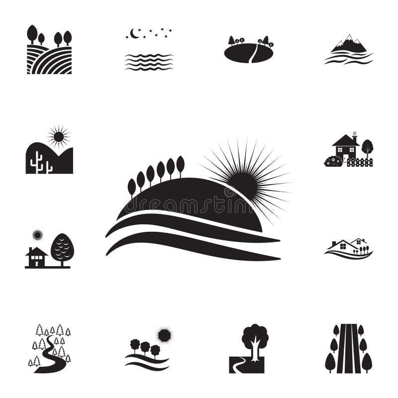 Sonnenuntergang auf der Hügelikone Ausführlicher Satz Landschaftsikonen Erstklassiges Grafikdesign Eine der Sammlungsikonen für W stock abbildung