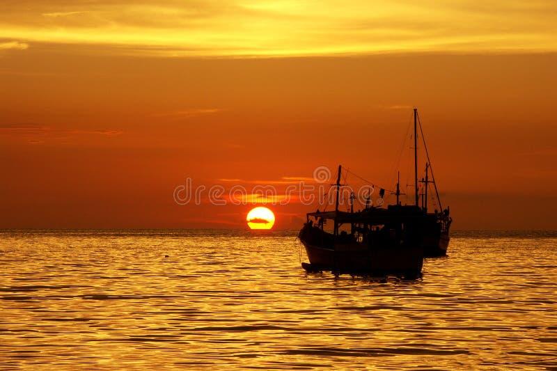 Sonnenuntergang auf der Juan Griego-Bucht, Margarita-Insel lizenzfreies stockbild