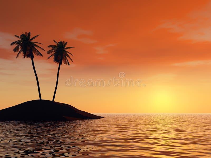 Sonnenuntergang auf einem Hintergrund der Zweige der Palmen lizenzfreie abbildung