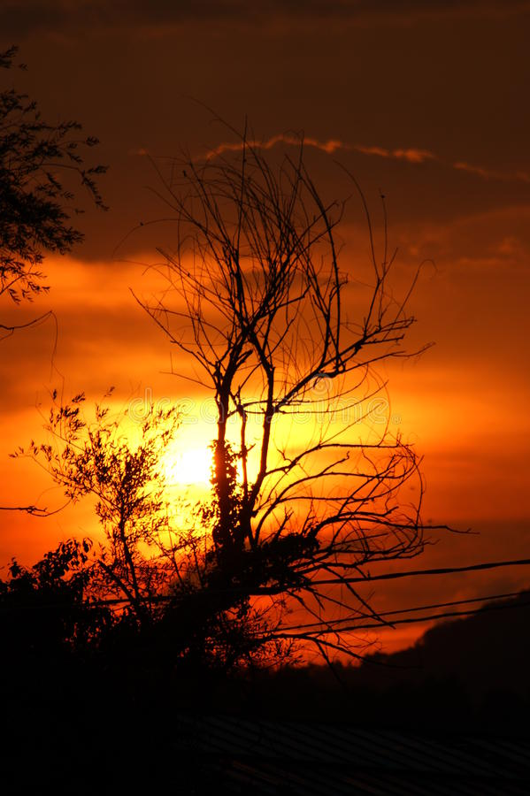 Sonnenuntergang auf Feuer lizenzfreies stockbild