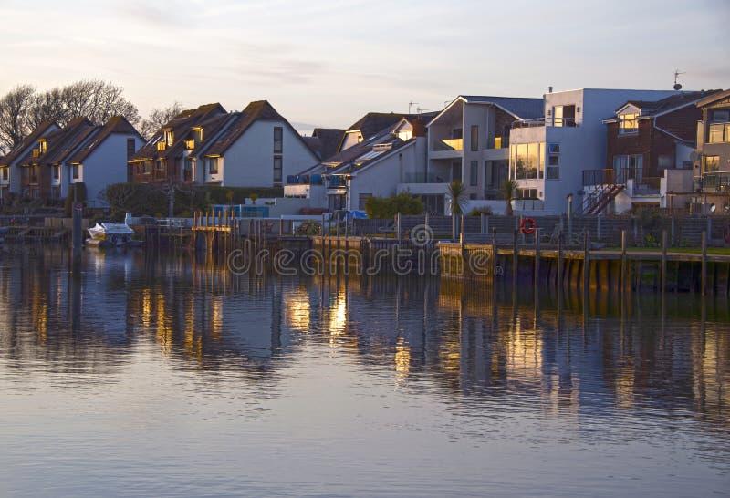 Sonnenuntergang auf Fluss Avon Christchurch stockbild