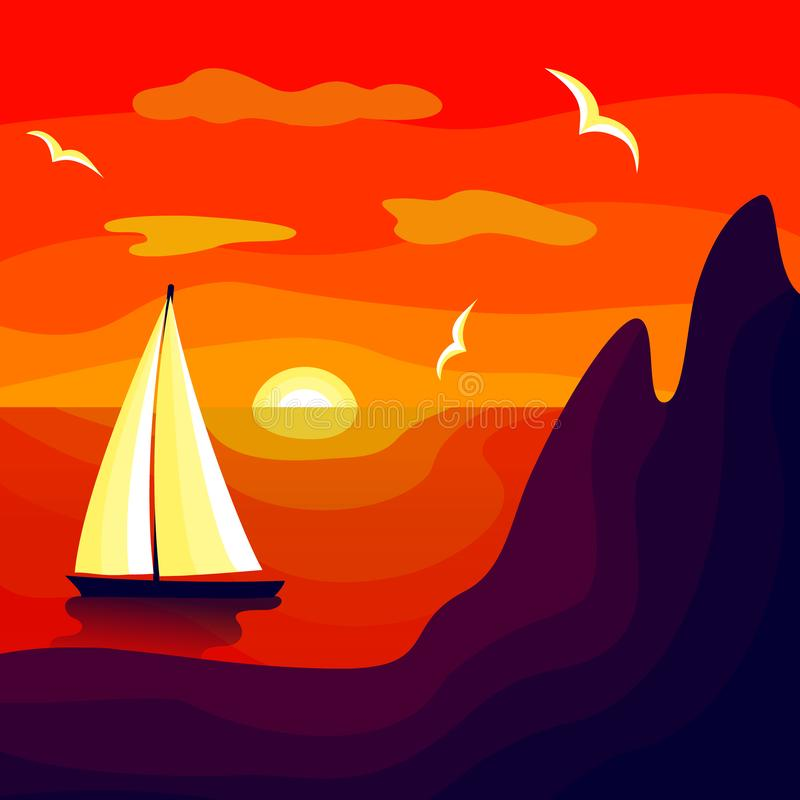 Sonnenuntergang auf hoher See vektor abbildung