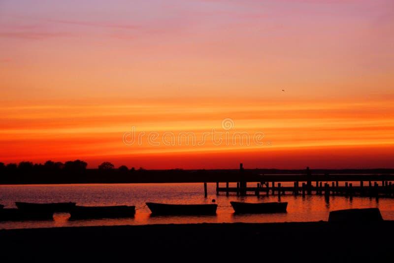 Sonnenuntergang auf Jersey-Ufer lizenzfreie stockfotografie