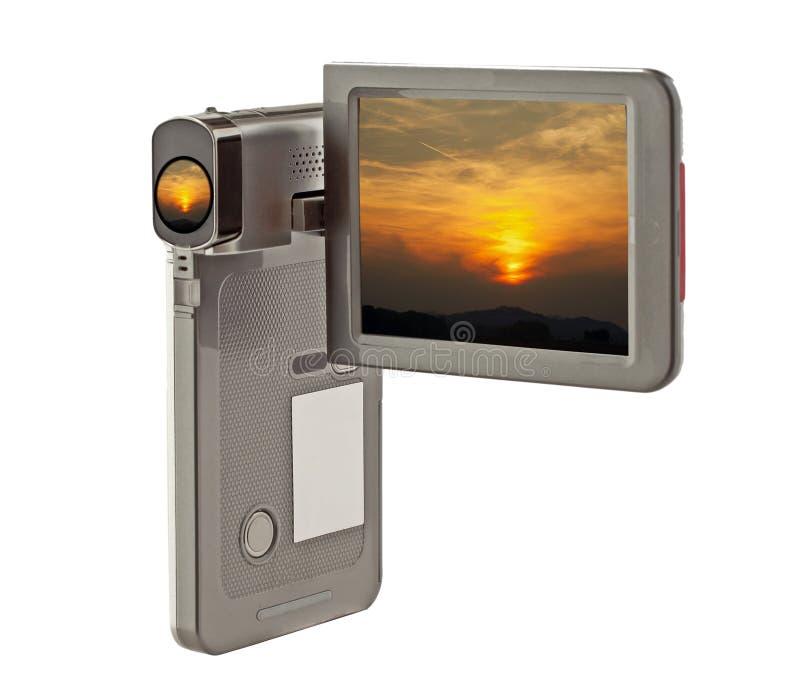 Sonnenuntergang auf Kamera lizenzfreies stockbild