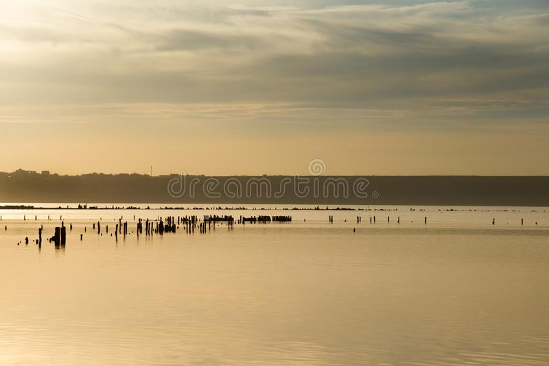 Sonnenuntergang auf Kuyalnik Liman, Odessa stockbilder