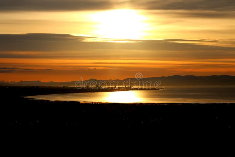 Sonnenuntergang auf Leith lizenzfreies stockfoto