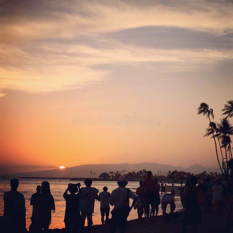 Sonnenuntergang auf Paradies stockbilder