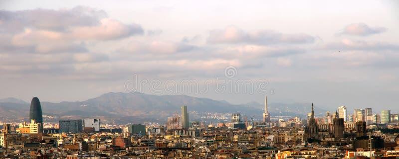 Sonnenuntergang Barcelona spanien stockfotos