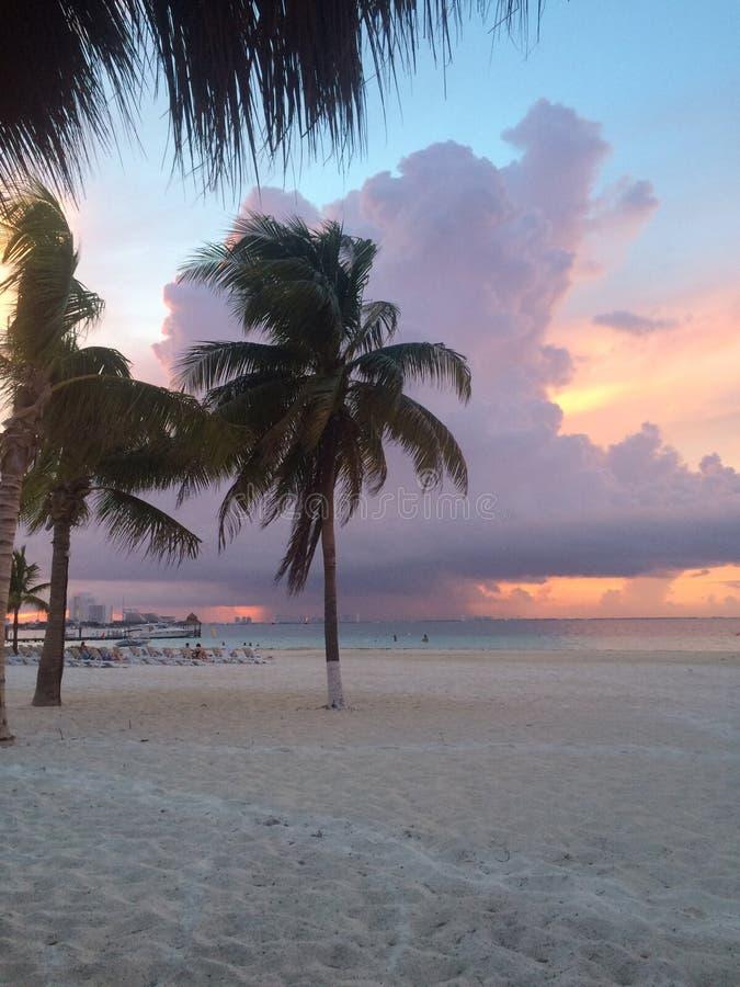 Sonnenuntergang bei Cancun stockbilder