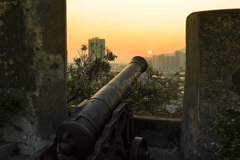 Sonnenuntergang bei Fortaleza Do Monte, Macao - China lizenzfreie stockfotos