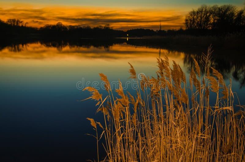 Sonnenuntergang bei Reedy Point lizenzfreie stockbilder