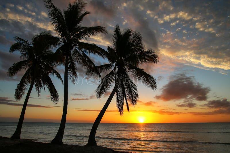 Sonnenuntergang ?ber Ouvea-Lagune auf Ouvea-Insel, Loyalit?ts-Inseln, Neukaledonien lizenzfreie stockbilder