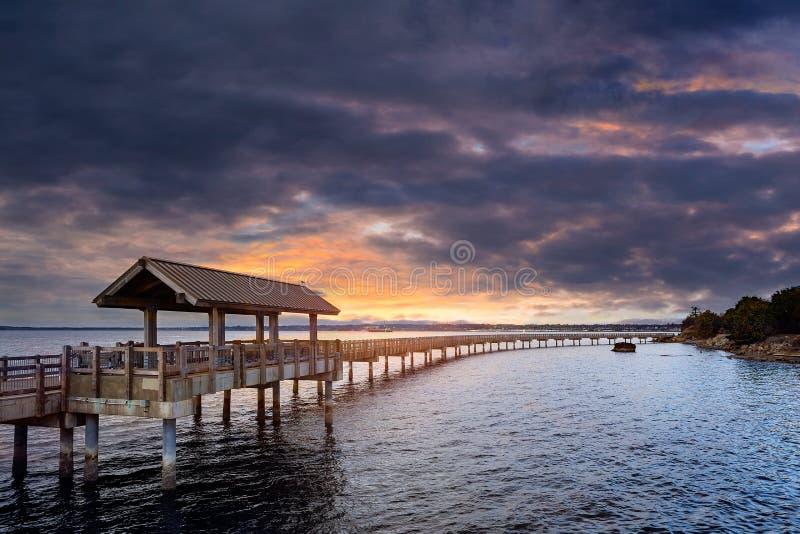 Sonnenuntergang am Boulevard-Park in Bellingham Washington Amerika lizenzfreies stockbild