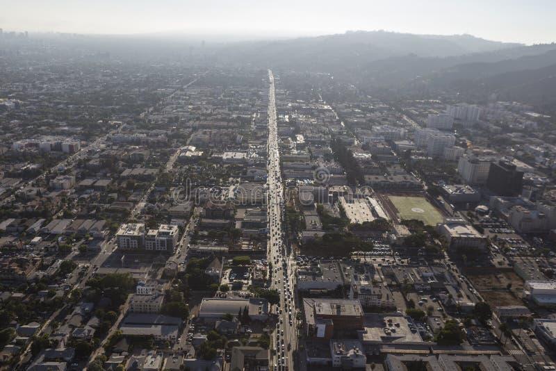 Sonnenuntergang-Boulevard-Smog lizenzfreie stockfotos