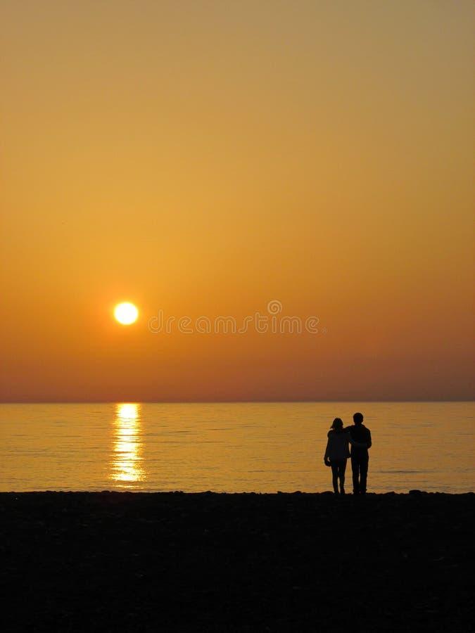 Sonnenuntergang Butumi Georgia Schwarzen Meers stockbild