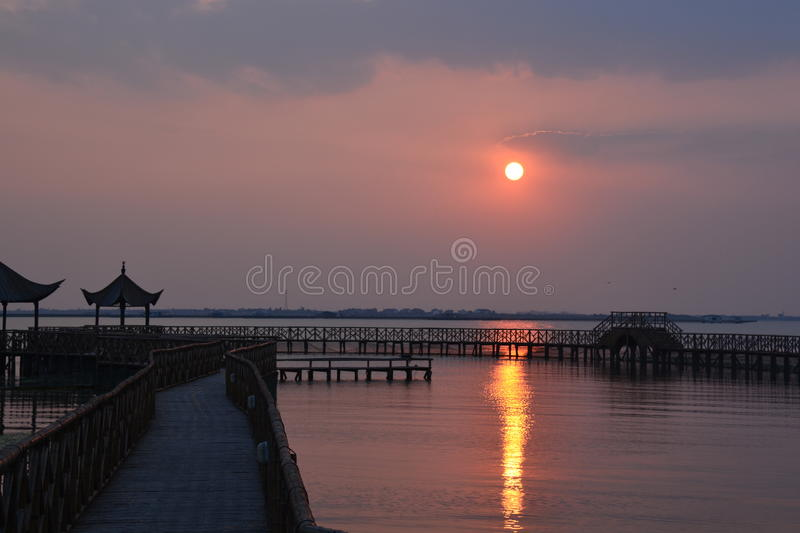 Sonnenuntergang in China stockbild