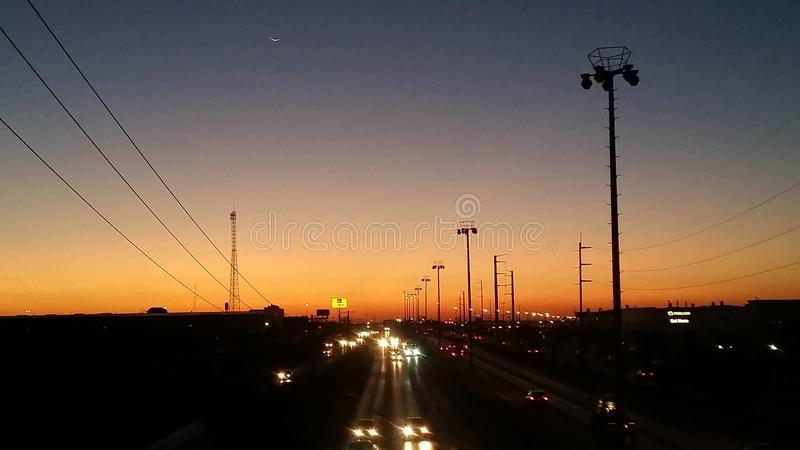 Sonnenuntergang in Ciudad Juarez, Chihuahua, Mexiko lizenzfreie stockfotografie
