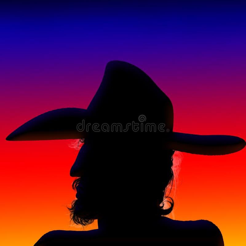 Sonnenuntergang-Cowboy lizenzfreies stockfoto