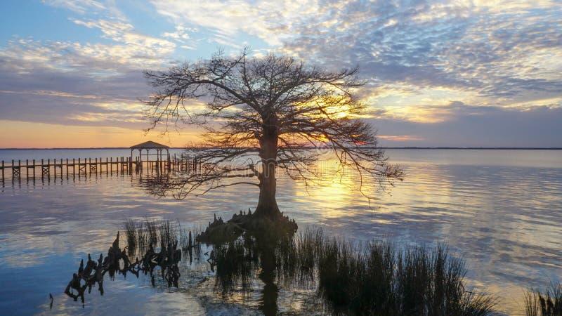 Sonnenuntergang Currituck-Ton in Duck North Carolina lizenzfreie stockfotos