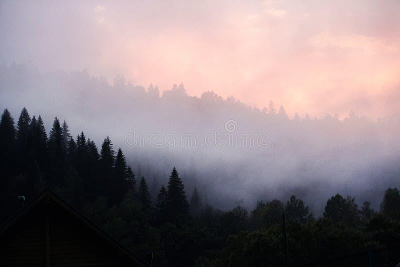 Sonnenuntergang in den Bergen Standort Karpaten, Ukraine stockfotografie