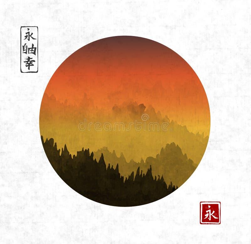 Sonnenuntergang in den Waldbergen im Kreis auf Reispapierhintergrund Traditionelles orientalisches Tintenmalerei sumi-e, Usünde,  lizenzfreie abbildung