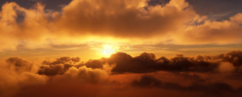 Sonnenuntergang in den Wolken Die helle Scheibe der Sonne wird teils durch die Wolken versteckt Wiedergabe 3d stock abbildung
