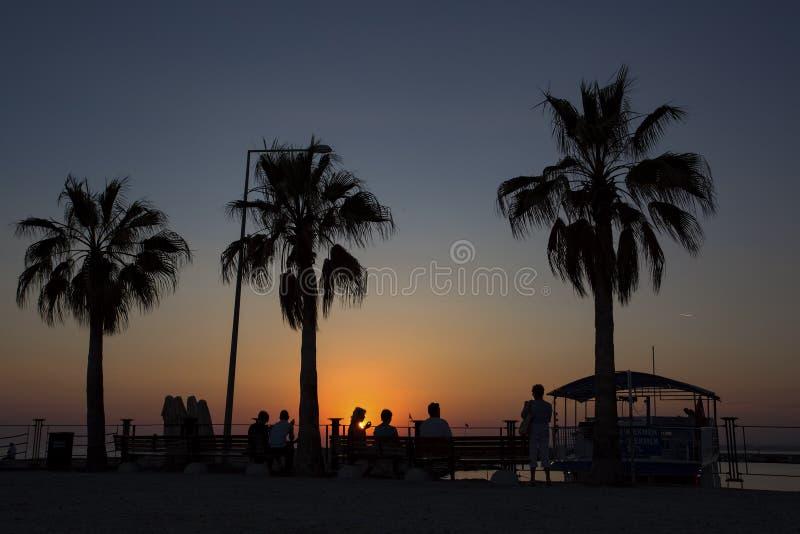 Sonnenuntergang der alten Stadt Seite der T?rkei Antalya Reisekonzeptfoto stockfoto