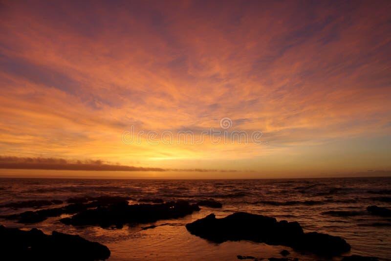 Sonnenuntergang an der Promenade lizenzfreie stockbilder