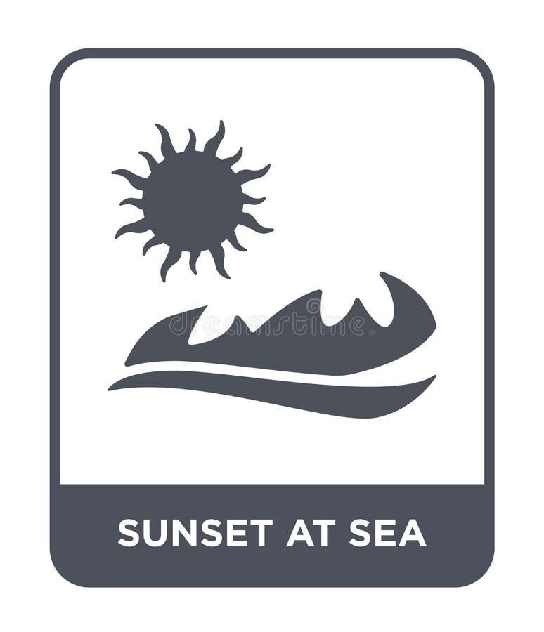 Sonnenuntergang an der Seeikone in der modischen Entwurfsart Sonnenuntergang an der Seeikone lokalisiert auf weißem Hintergrund S vektor abbildung