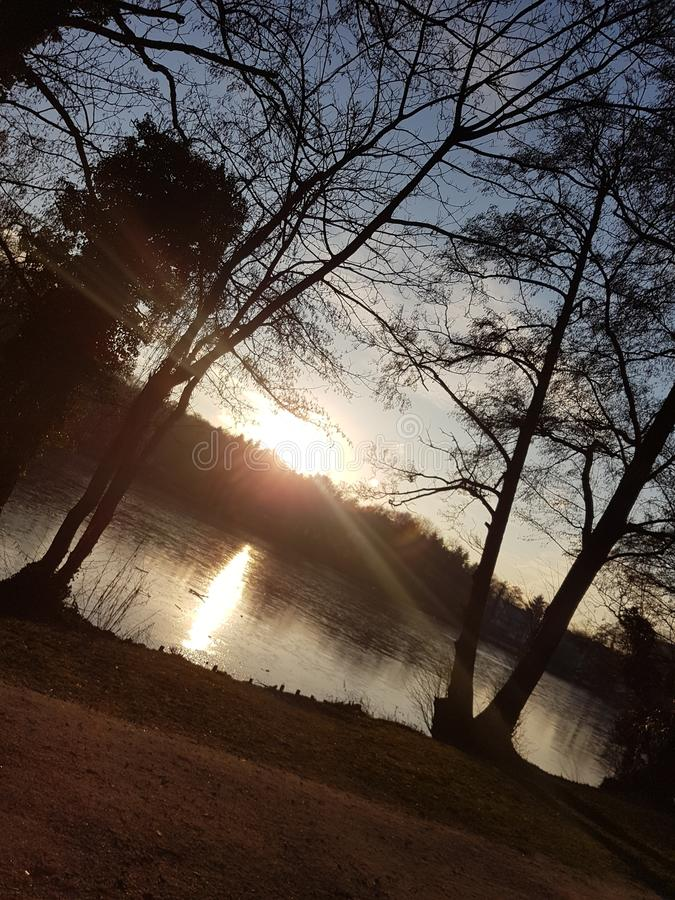 Sonnenuntergang Dobben stockbilder
