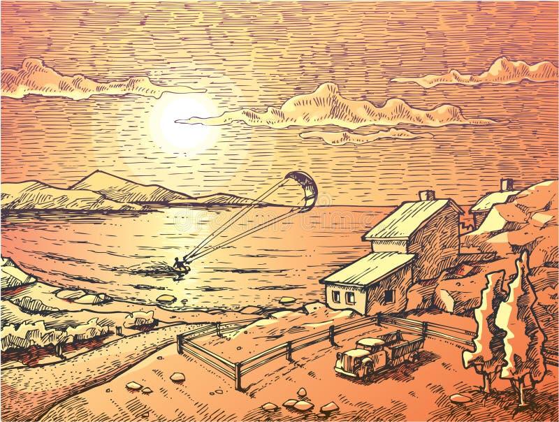 Sonnenuntergang Drachen-Surfen. lizenzfreie abbildung