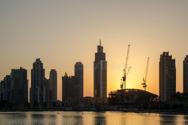 Sonnenuntergang in Dubai lizenzfreies stockfoto