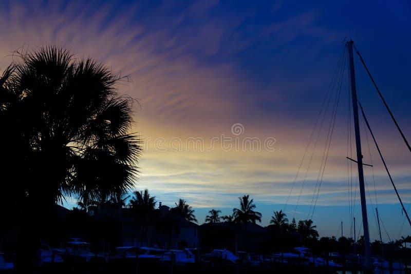 Sonnenuntergang in einem Florida-Jachthafen mit Palmen und Segelbooten lizenzfreie stockbilder