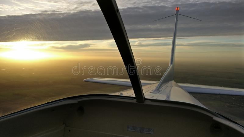 Sonnenuntergang flaches Frankreich stockfotografie