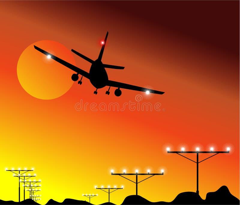 Sonnenuntergang-Flugzeug-Landung lizenzfreie abbildung