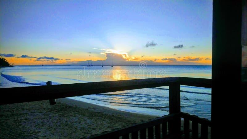 Sonnenuntergang an Fraser Island-Stange stockfotografie