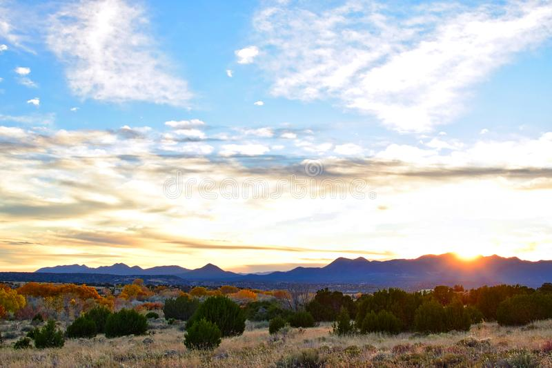 Sonnenuntergang in Galisteo-New Mexiko stockfotografie
