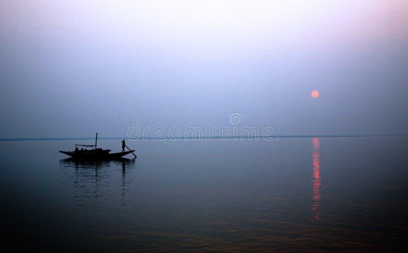 Sonnenuntergang, Ganges-Dreieck stockbilder