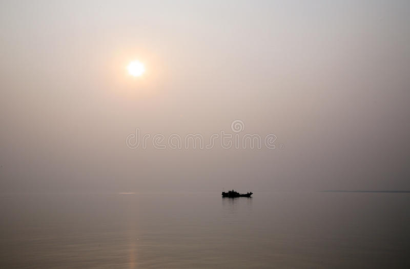 Sonnenuntergang, Ganges-Dreieck lizenzfreie stockfotografie