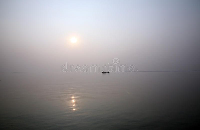 Sonnenuntergang, Ganges-Dreieck stockfotografie