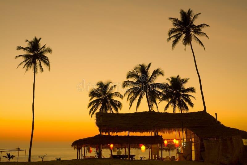 Sonnenuntergang in Goa lizenzfreies stockfoto