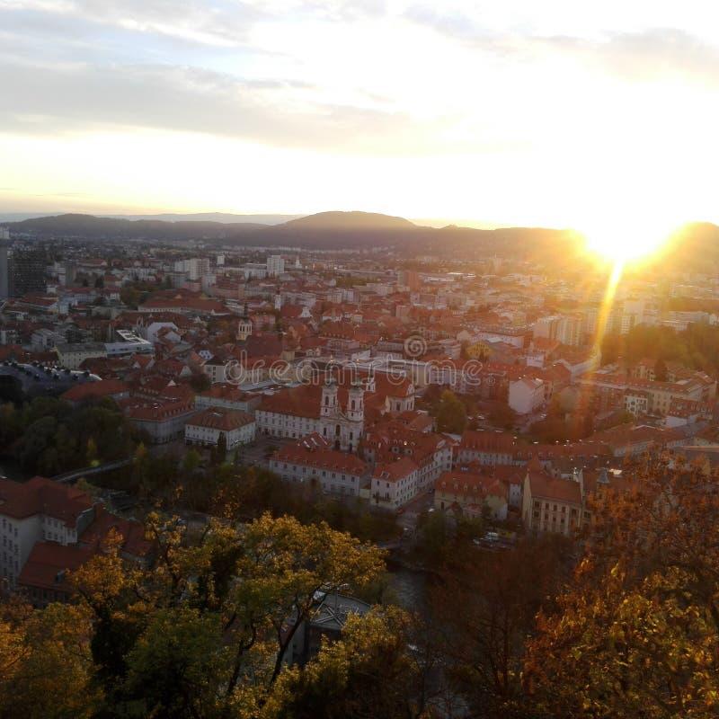 Sonnenuntergang in Graz, Österreich stockfotos