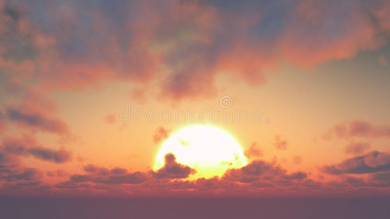 Sonnenuntergang - große Sonnen- und Kumuluswolken stockbilder