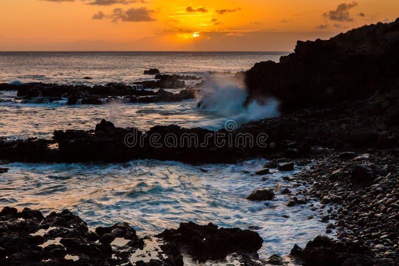 Sonnenuntergang in Hawaii stockbild