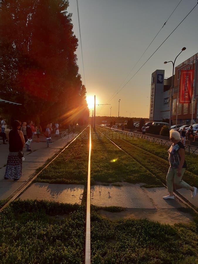 Sonnenuntergang herauf die Eisenbahn stockbilder